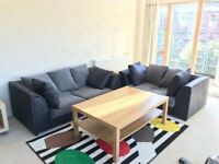 2 nos. of sofas, 2 seater and 3 seater sofa £75 each modern simple living room furniture