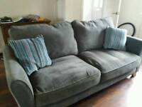 SOLD Grey 3 seater sofa and armchair