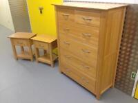 Solid oak Large chest of drawers & bedside cabinets tables Laura Ashley habitat loaf oka John Lewis