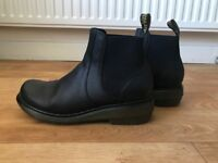 Dr Martens Black Leather Ankle Boot, Chelsea Style, Size UK 7