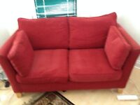 Two Seat Red Settee Sofa - Very Good Condition