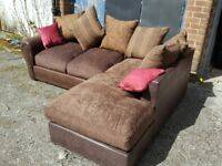 Lovely BRAND NEW brown fabric corner sofa .never used. still packed.can deliver