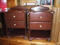 A PAIR SOLID PINE BEDSIDE TABLES