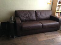 Faux leather double sofa bed