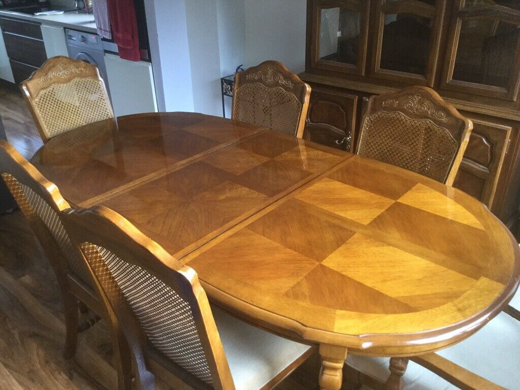 Extendable Dining Table 6 Chairs Matching Buffet Cabinet Coffee And TV