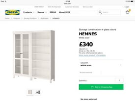 2x GREY / BROWN IKEA HEMNES BOOKCASES / SHELVES / CABINET / UNIT (1 with full length glass doors)