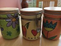 3 Whittard of Chelsea Ceramic Storage Jars