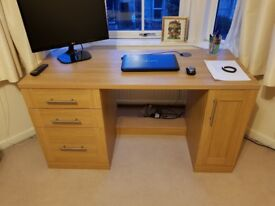 Solid wood desk and chair. 141Lx60Dx77H