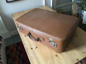 Retro Distressed hand stitched leather suitcase1950-60's