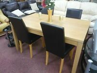 Solid, Pine dining table with 4 high backed chairs