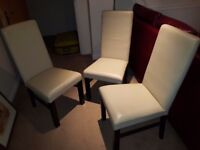 3 leather effect dining chairs