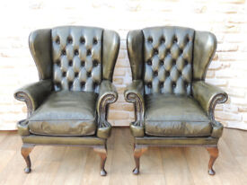 2 Compact Style Chesterfield Armchairs (Delivery)