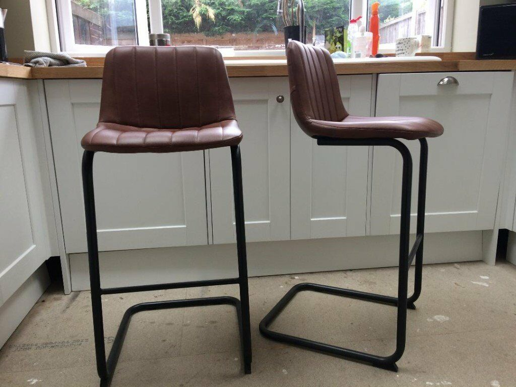 Awesome 2 Breakfast Bar Stools Next Welles Faux Leather Tan In York North Yorkshire Gumtree Machost Co Dining Chair Design Ideas Machostcouk