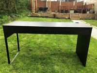 Black Wooden Desk with Drawers