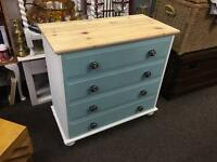 Solid pine shabby chic chest of drawers