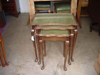 Nest of Tables - Olive Green Leather Top
