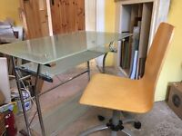 Glass computer table with chair