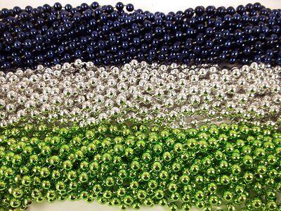 72 Seahawks Blue Silver Green Metallic Mardi Gras Beads Party Favors 6 Dozen  Metallic Mardi Gras Beads