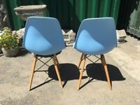 Pair Of Stylish Modern Dining Chairs In Light Blue - Kitchen - Diner