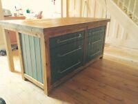 Freestanding kitchen island with breakfast bar 6 drawer storage