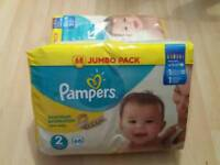 2 x PAMPERS SIZE 2 NAPPIES JUMBO PACK