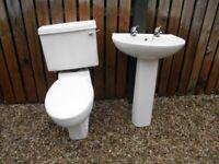 Bathroom sink, taps, pedestal, toilet & cistern