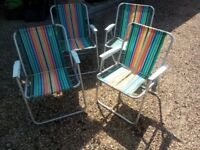 Four vintage 1970s garden camping chairs