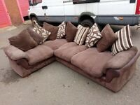 Brown corner fabric sofa