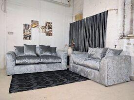 new julie crush velvet sofa set on special offer