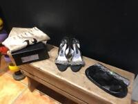 Genuine Gina designer black leather heels sandals clutch bag uk 4.5