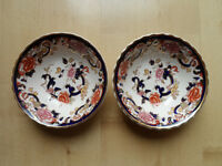 "MASONS BLUE MANDALAY 6.25"" WIDE SOUP/CEREAL BOWLS X2"