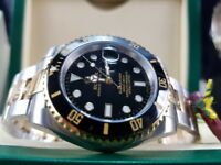 New boxed with papers 40mm twotone bracelet black dial Rolex submariner watch Automatic sweeping
