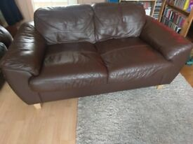 2 x two seater brown leather sofa's