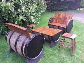 Oak barrel garden furniture for patio bar pub