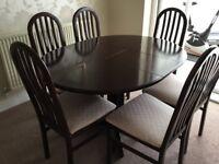 Extending Mahogany Circular Dining Table and 6 mahogany chairs