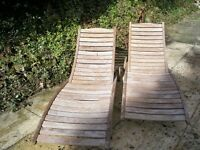Pair of Wooden Reclining Body Sculptured Sun Loungers. Very Good Condition.