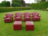 FOUR SUPERB QUALITY RED LEATHER BAR/HOTEL/RECEPTION/LOUNGE CHAIRS & 2 MATCHING FOOTSTOOLS
