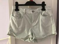 Light mint green denim shorts