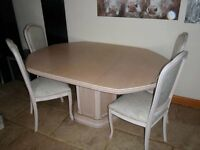 Extending Dining Table & 6 chairs Limed Oak Veneer Solid & Heavy - collect MK45