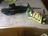 Boys toys submarine helicopter