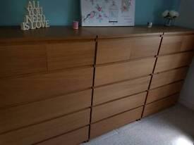 Ikea Malm 6 Drawer Unit - Oak Veneer - Excellent Condition