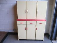 VINTAGE 1950's/60 KITCHEN UNITS RED FORMICA TOP TRIPLE BASE UNIT AND TRIPLE WALL UNIT FREE DELIVERY