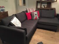 Next charcoal grey small left hand corner sofa and swivel chair