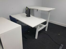 3 2-pod white sit-stand height adjustable computer tables office desks £350 each