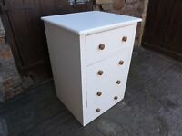 Painted pine 4 drawer deep chest, ideal for kitchen items.