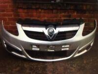 Vauxhall corsa d 2008 2009 2010 genuine front bumper + top chrome grille