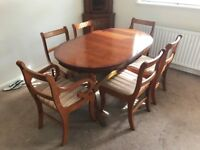 Oval Extending Dining Table + 6 Chairs