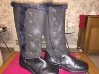 Hotter Brand - Black Boots Size 3 Leather with design (unused)