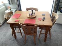 DINING TABLE WITH 4 CHAIRS PINE