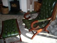 Traditional Leather in the Chesterfield Style Handmade Slipper Chair and matching footstool.